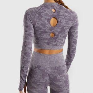 NWOT Gymshark purple camp long sleeve crop top S